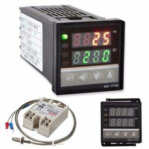 Digital Lcd Pid Rex c100 Temperature Controller Ssr 40a K Thermocouple Heat Sink