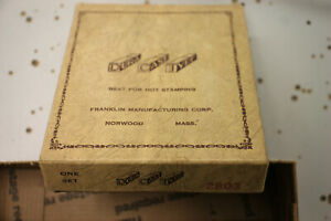 Franklin Manufacturing Corp Dura Cast Type 2803 Embossing Type