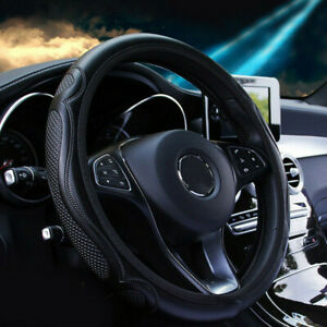 1pcs Black Car Steering Wheel Cover Leather Breathable Anti Slip Car Accessories