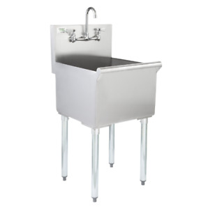 Commercial Utility Sink Bowl Prep 18 x18 x13 Stainless Steel 8 Faucet Centers