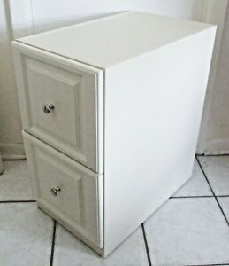 Vertical File Cabinet Off white Wood Laminate 2 drawer Beveled Front Rolling