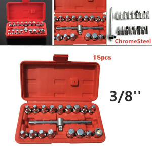 18pc Oil Drain Pipe Plug Socket Key Tool Set Gearbox And Axle 3 8 Wrench Tool