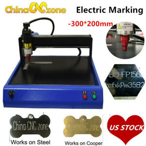 Electric Metal Marking Engraving Machine For Card Dog Tag Steel Signs 300x200mm