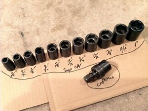 Snap On 1 2 Drive 6 Point 12pc Impact Socket Set Usa
