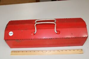 Vintage Red Mechanics Metal Tool Box 19 x6 x5 With Tray Good Condition
