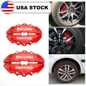 4pcs Front Rear Red 3d Brembo Style Car Disc Brake Caliper Covers Universal