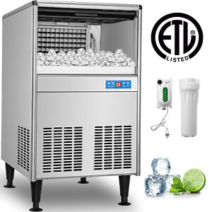125lbs 24h Built in Commercial Ice Maker Undercounter Freestand Ice Cube Machine