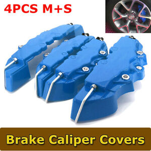 4 piece Brembo Style Disc Brake Caliper Cover Front Rear Color Blue Usa Seller