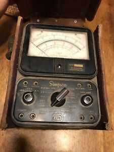 Vintage Simpson Model 270 Analog Multimeter W leather Case No Leads