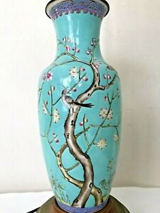 Old Antique Chinese Hp Birds Figure Cherry Blossom Turquoise Famille Vase Lamp