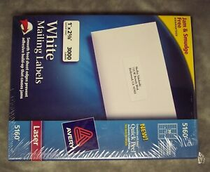 Avery 5160 Laser White Mailing Labels 30 sheet Each Label 1 X 2 Total 3000