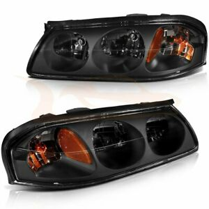 Headlamp Assembly Fits 2000 2005 Chevy Impala Clear Black Driver passenger Sides