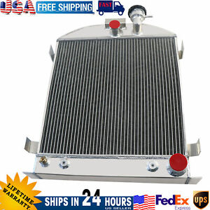 3 Row Aluminum Radiator For 1939 1940 Ford Chopped Grill Shells Chevy Engine