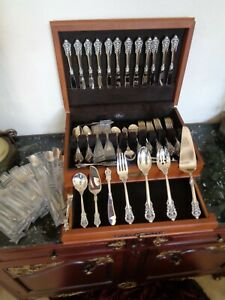Mint Wallace Grande Baroque 98pcs Sterling Silver Flatware Set For 12 Srvg Chest