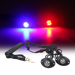 Hide Away 2in1 R B 12 Led Emergency Warning Strobe Light Bar Patrol For Vehicles