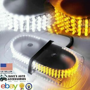 11 8 240 led Amber white Roof top Emergency Strobe Light W Magnetic Mounts Use