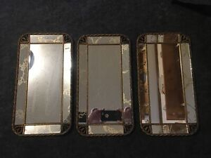 Vintage 40s 50s Rectangle Wall Mirrors Or Vanity Mirror Trays Gold Reverse Etch