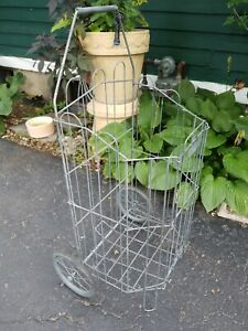 Vintage Rolling Market Cart Metal Wire Shopping Foldable Portable W wheels