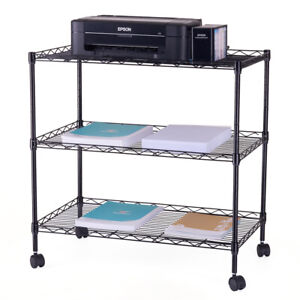 Printer Stand Tv Pc Cart Storage Office Caddy Multi use Rolling Furniture Steel