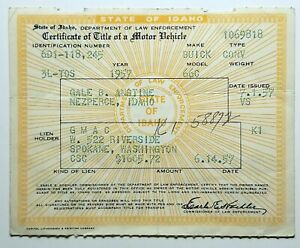1957 Buick Convertible 66c Vintage Historical Document Barn Find Embossed Title
