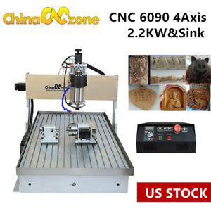 2 2kw Cnc 6090 4 axis Router Milling Engraving Machine Cutting Engraver sink Us