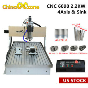 2 2kw Cnc 6090 4 axis Router Milling Cutting Engraving Mach3 Machine Sink Us