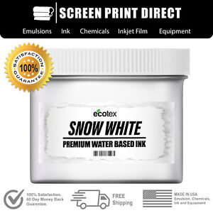 Ecotex Snow White Water Based Ready To Use Ink Screen Printing 8oz