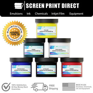 Ecotex Water Based Ink Kit For Screen Printing 6 Primary Colors 8oz