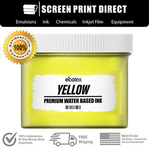 Ecotex Yellow Premium Water Based Ink For Screen Printing Pint 16oz