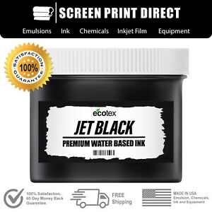 Ecotex Jet Black Water Based Ready To Use Ink For Screen Printing 8oz
