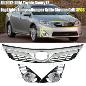 Fit 2012 2014 Toyota Camry Le Chrome Fog Lights Lamps bumper Grille Grill 3pcs