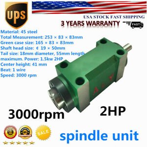 Mt2 Drilling Spindle Unit Power Head 5 Bearing For Cnc Milling Machine 2 Hp