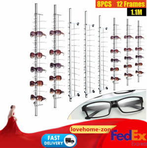 Aluminium Sunglasses Eye Glasses Display Rod Glasses Holder Organizer 8pcs New