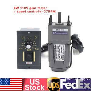Reversible Ac Gear Motor Electric Variable Speed Controller 27rpm min 110v