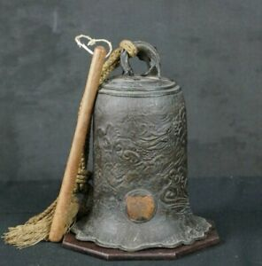 Antique Japanese Tsuri Kane Dragon Bronze Bell 1880s Japan Sculpture Art