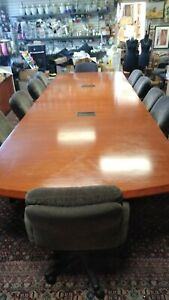 Rectangle Conference E table High Quality 15 Ft X 4 8 Ft With 10 Fabric Chairs