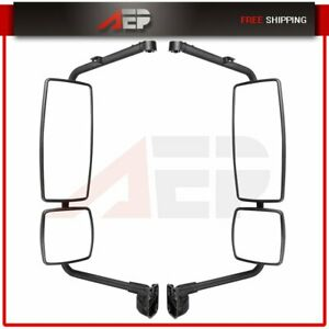 Truck Pair Black Mirrors Complete For 2002 18 International Durastar 4300