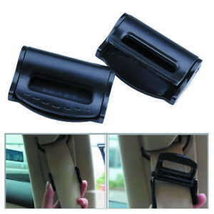 Black Seat Belt Clip 2pcs Auto Car Adjuster Parts Shoulder Replacement