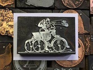 Antique Vtg Wood Metal Cycle Car Letterpress Print Type Cut Ornament Block