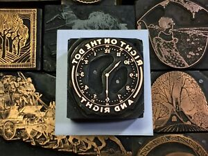 Antique Vtg Wood Metal Clock Watch Letterpress Print Type Cut Ornament Block