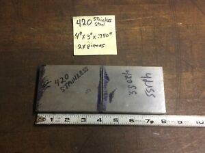 2x Pieces Of 420 Stainless Steel Flat Bar 4 X 3 X 75 Machine Stock