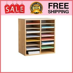 Literature Organizer Office Furniture Wood Adjustable 16 Compartment Medium Oak