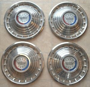 1963 Ford Galaxie Hubcaps 14 Wheel Rim Cover Original Set With Crest Emblem