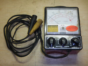 Vintage Snap On Mt 715 Tach Dwell Meter With Leads Automotive Tester