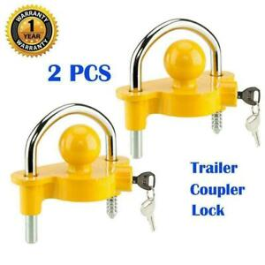 2 For Trailer Tow Ball Hitch Lock Heavy Duty Universal Coupler Lock Security
