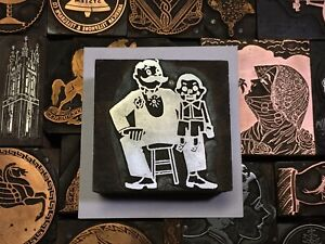 Antique Vtg Wood Ventriloquist Doll Letterpress Print Type Cut Ornament Block