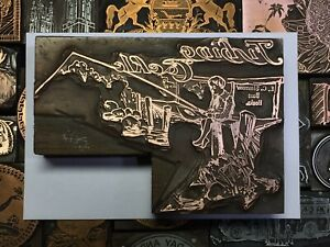 Antique Vtg Fishing Tackle E C Simmons Letterpress Print Type Cut Ornament Block