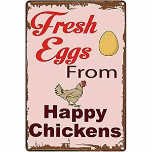 Original Vintage Design Fresh Eggs From The Happy Chickens Tin Metal Sign Wall