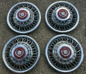 Set Of 4 Cadillac Wire Spike Hub Caps Wheel Covers
