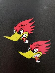 2 Small Hot Rod Woodpecker With Cigar Vintage Style Sticker Hydroflask Laptop